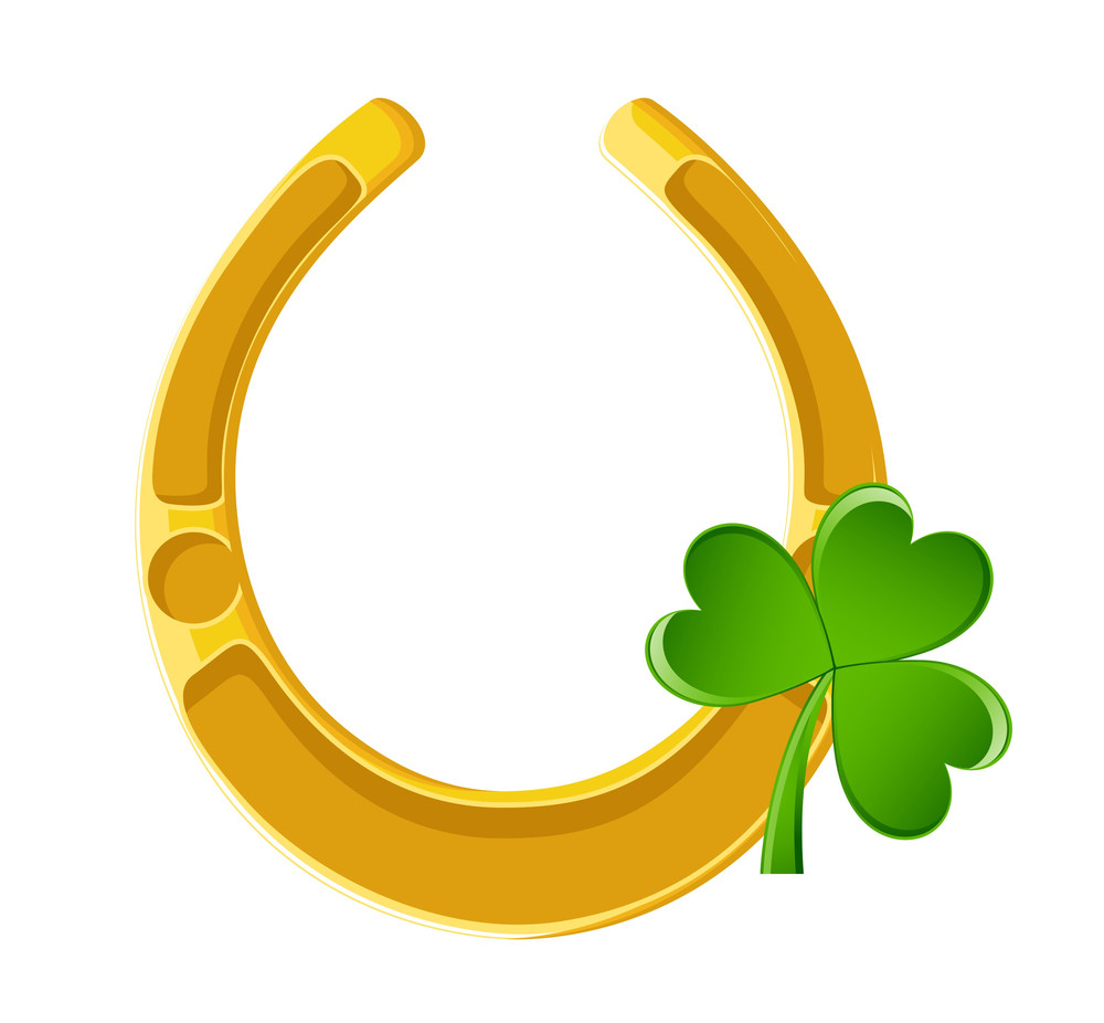 Golden Horseshoe With Clover Leaf