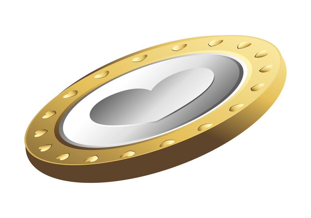 Golden Love Heart Coin