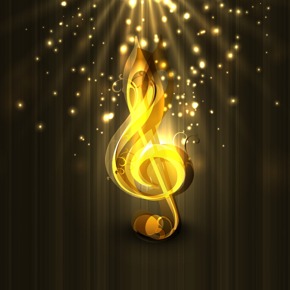 Golden Musical Note On Brown Shiny Background