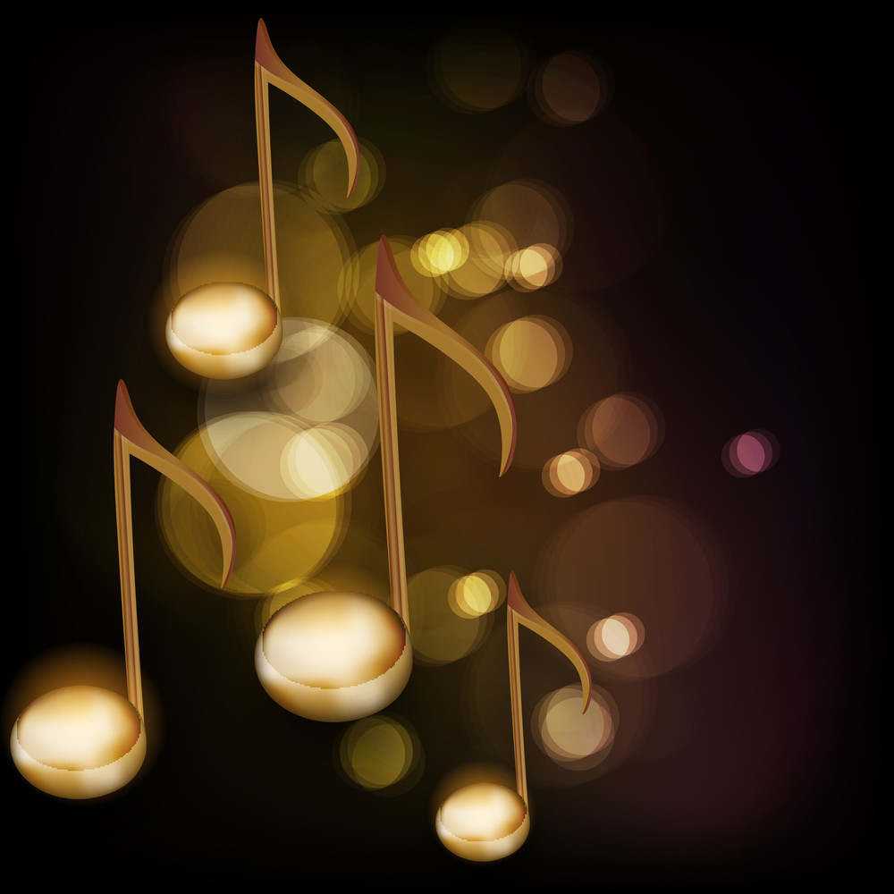 Golden Musical Notes On Shiny Background