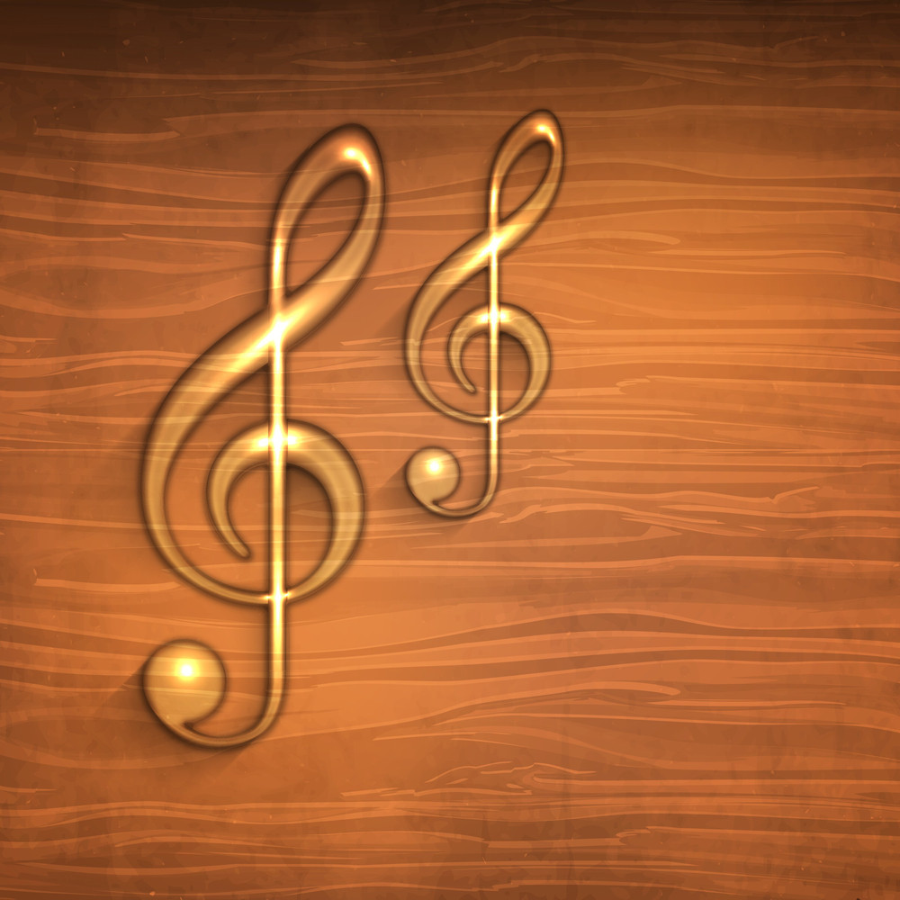 Golden Musical Notes On Wooden Background-