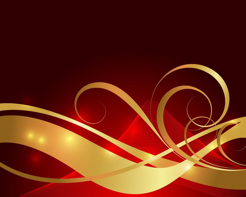 Golden Ornamental Wavy Floral Background