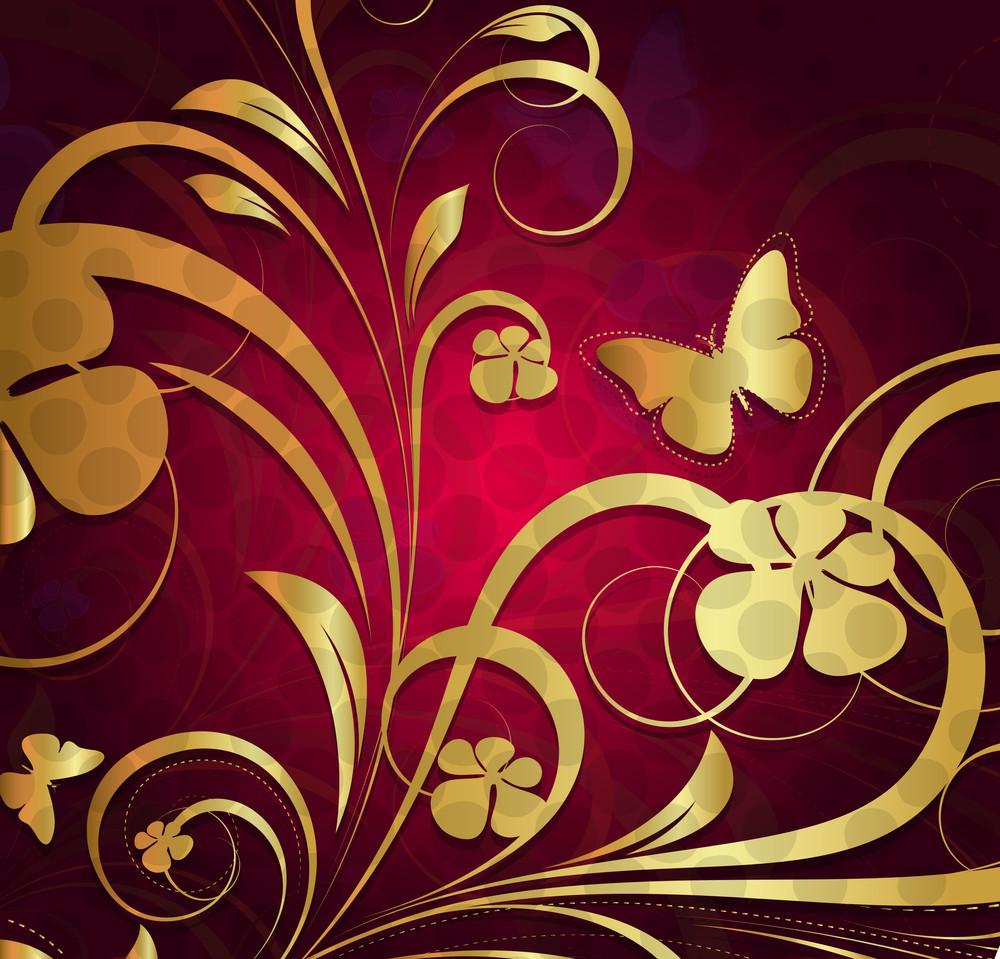 Golden Ornate Flora Background