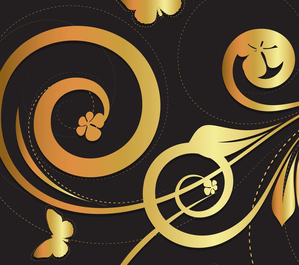 Golden Ornate Flora Texture Background