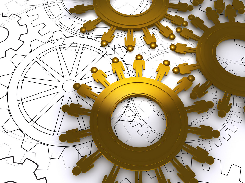Golden People Cogs As Concept