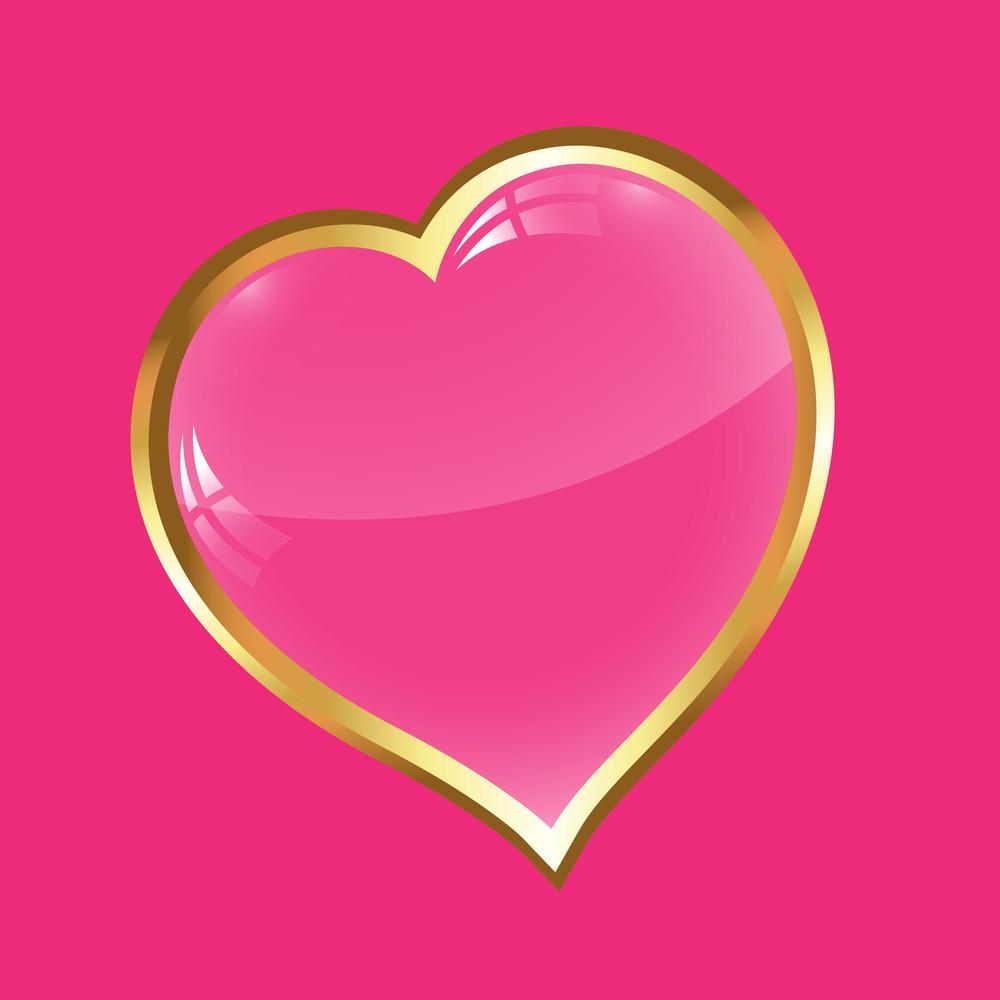 Golden Pink Heart