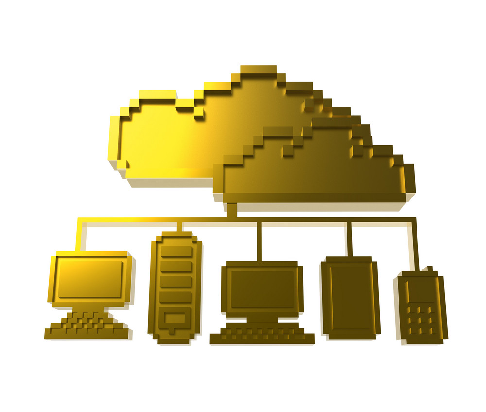 Golden Pixel Cloud Network Icon