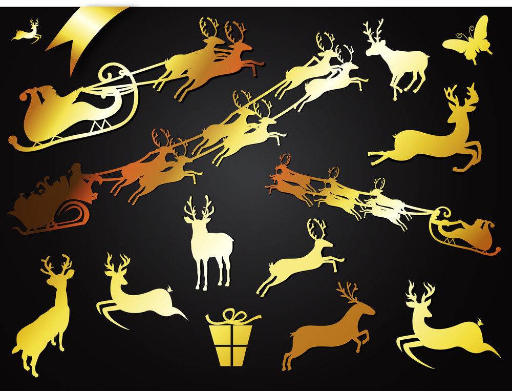 Golden Reindeer Shapes Collection