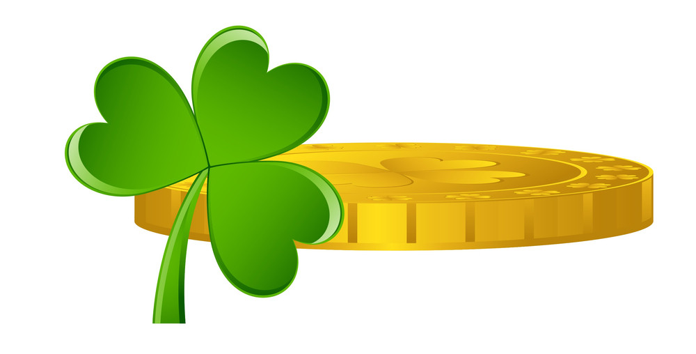 Golden Shamrock Symbol Coin With Clover Leaf