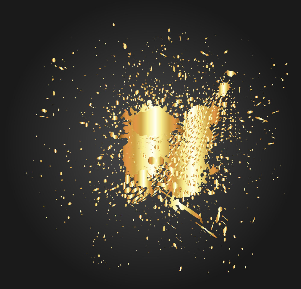 Golden Splash Halftone Vector Background