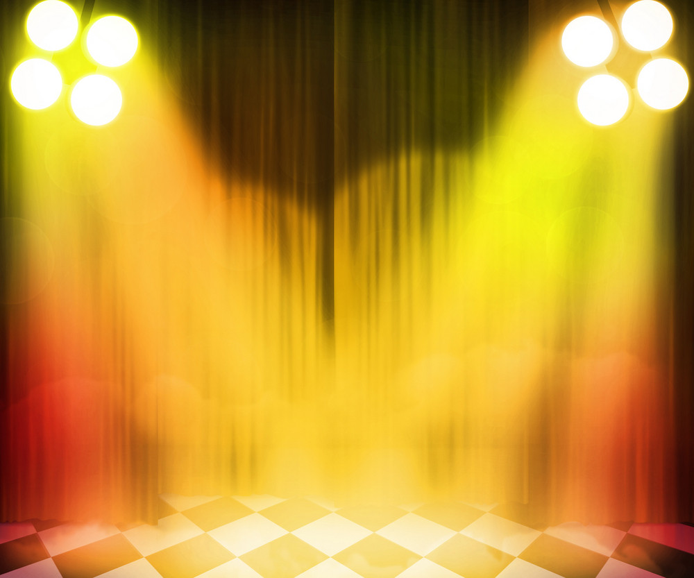 Golden Stage Spotlight Background