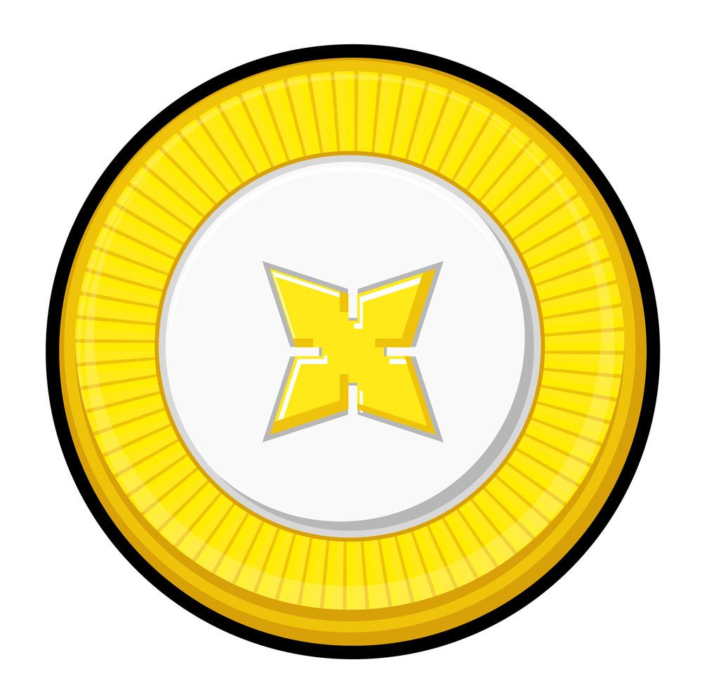 Golden Star Coin Vector Design