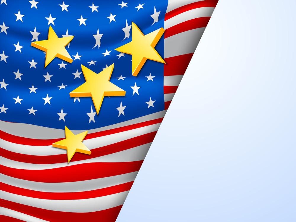 Golden Stars On American Flag