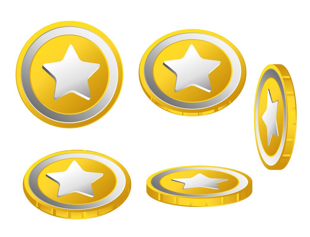 Golden Stars Vector Coins