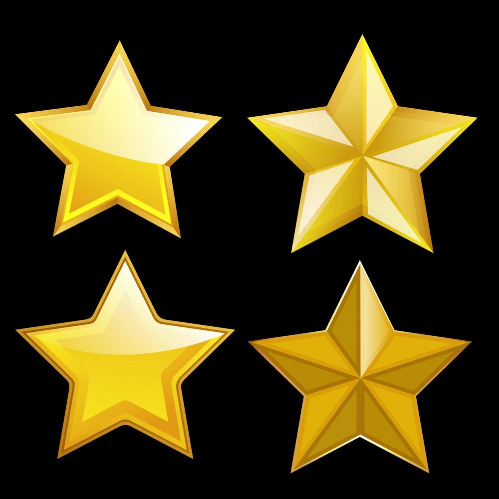 Golden Stars Vector Set