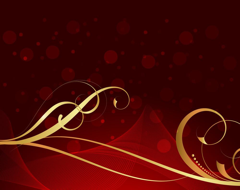Golden Swirl Flourish Bokeh Graphic Background