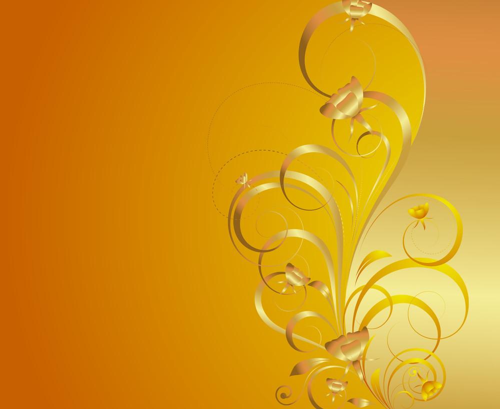 Golden Swirl Ornate Flourish Background
