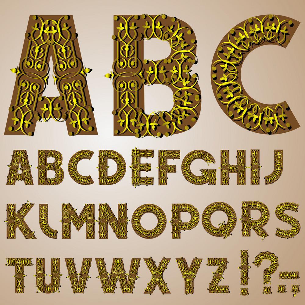 Golden Swirly Alphabet