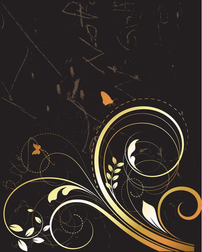 Golden Swirly Vector Background