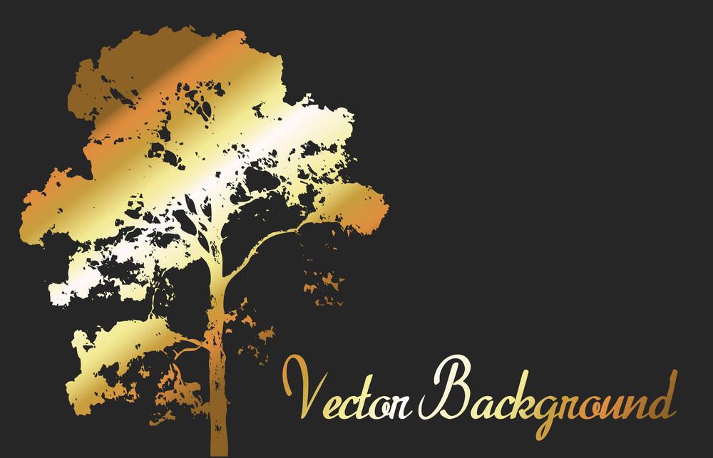 Golden Tree Shape Banner