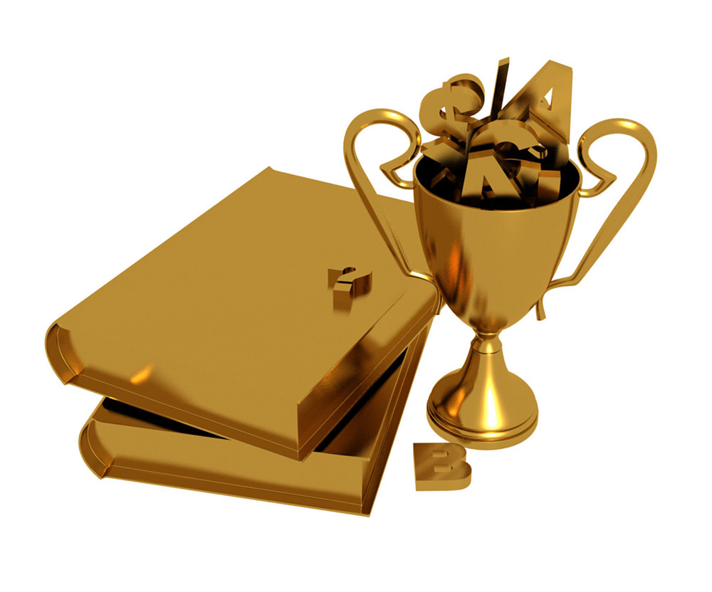Golden Trophy And Books