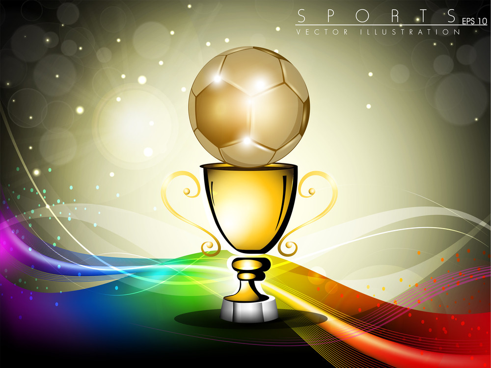 Golden Trophy Or Golden Cup With Red Ribbons