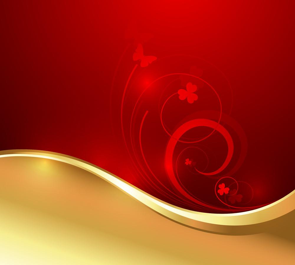 Golden Wave Flourish Vector Design
