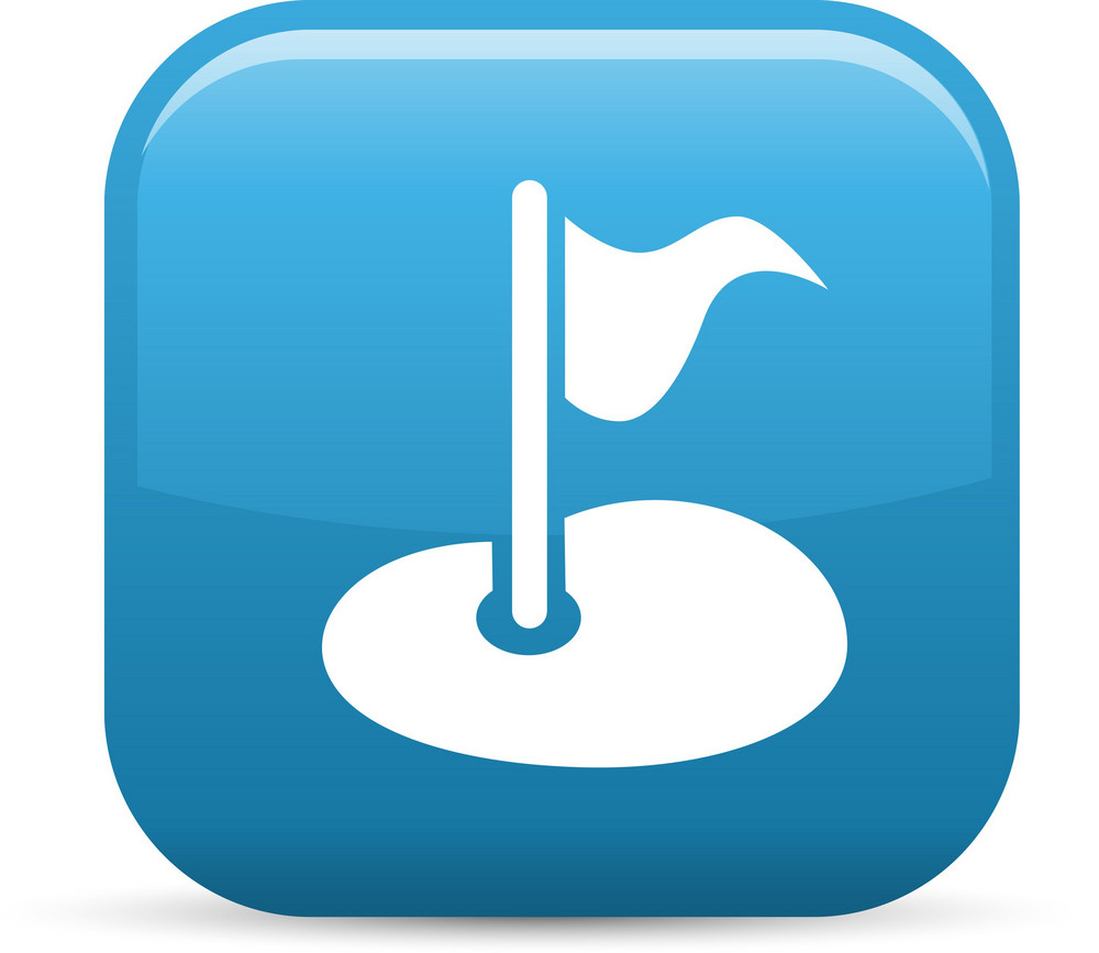 Golf Course Pin Elements Glossy Icon