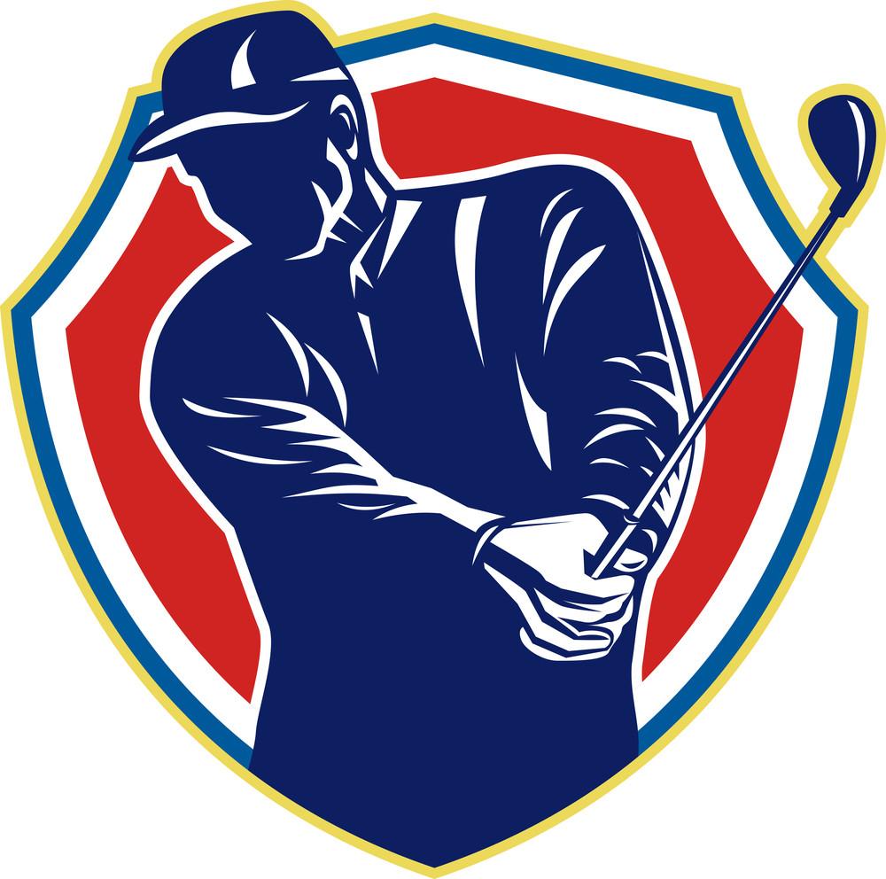 Golfer Swing Club Playing Golf Retro