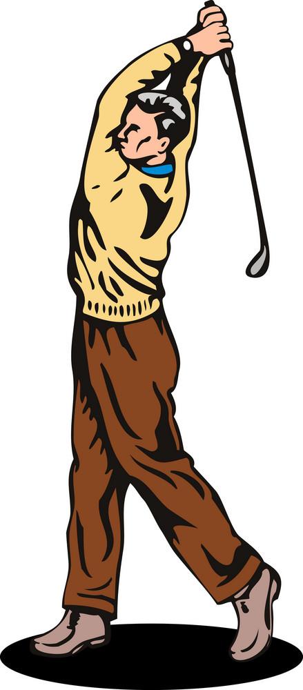 Golfer Swinging