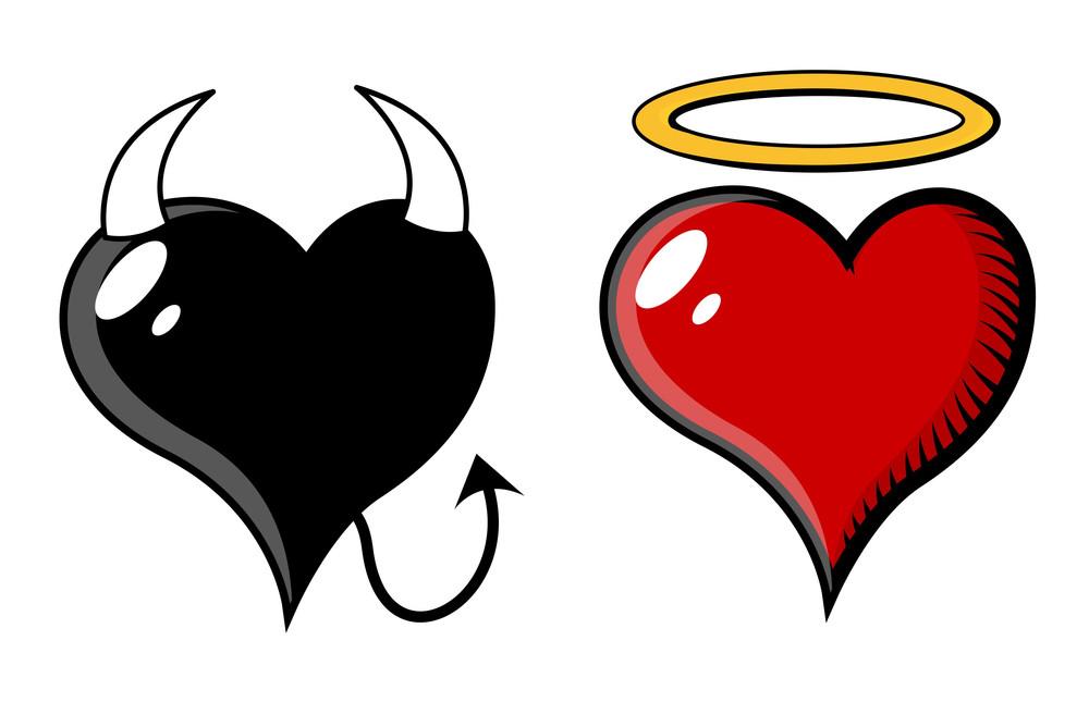 Good And Evil Heart - Vector Illustration