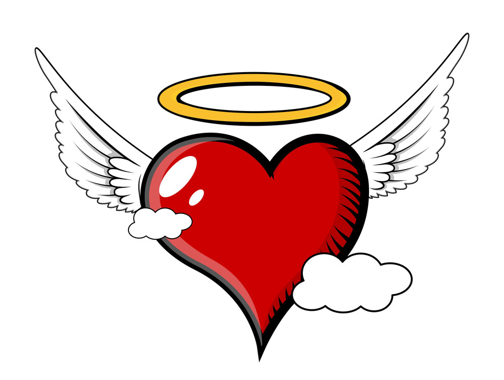 Good Angel Heart Flying In Clouds - Vector Illustration