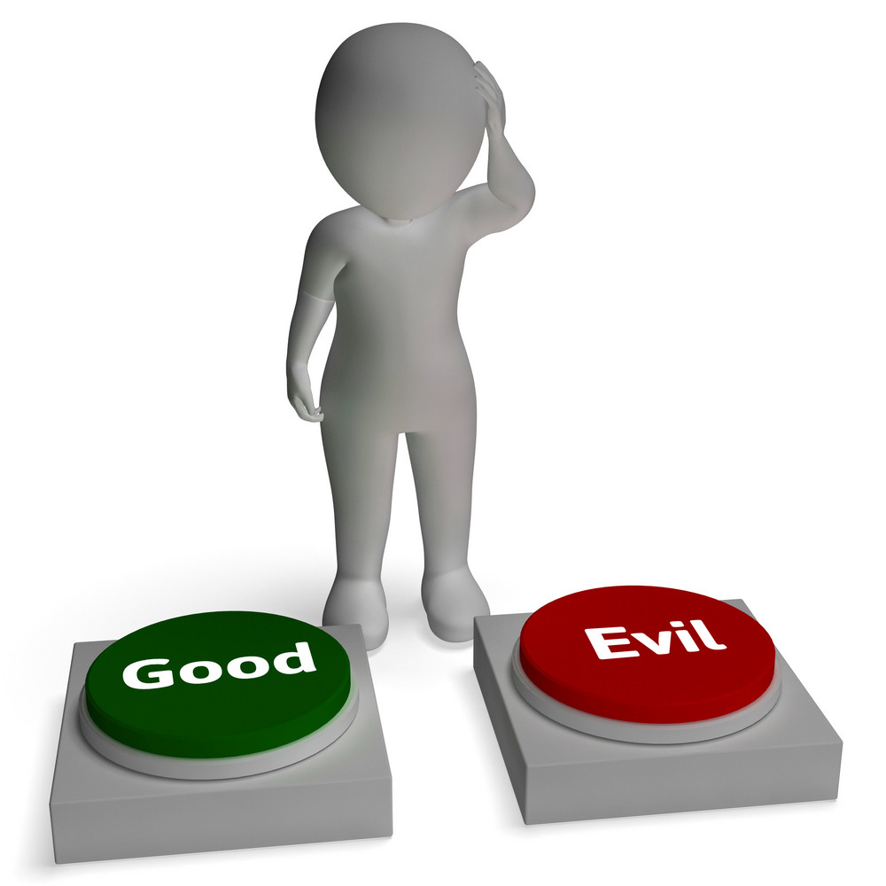 Good Evil Buttons Shows Morals