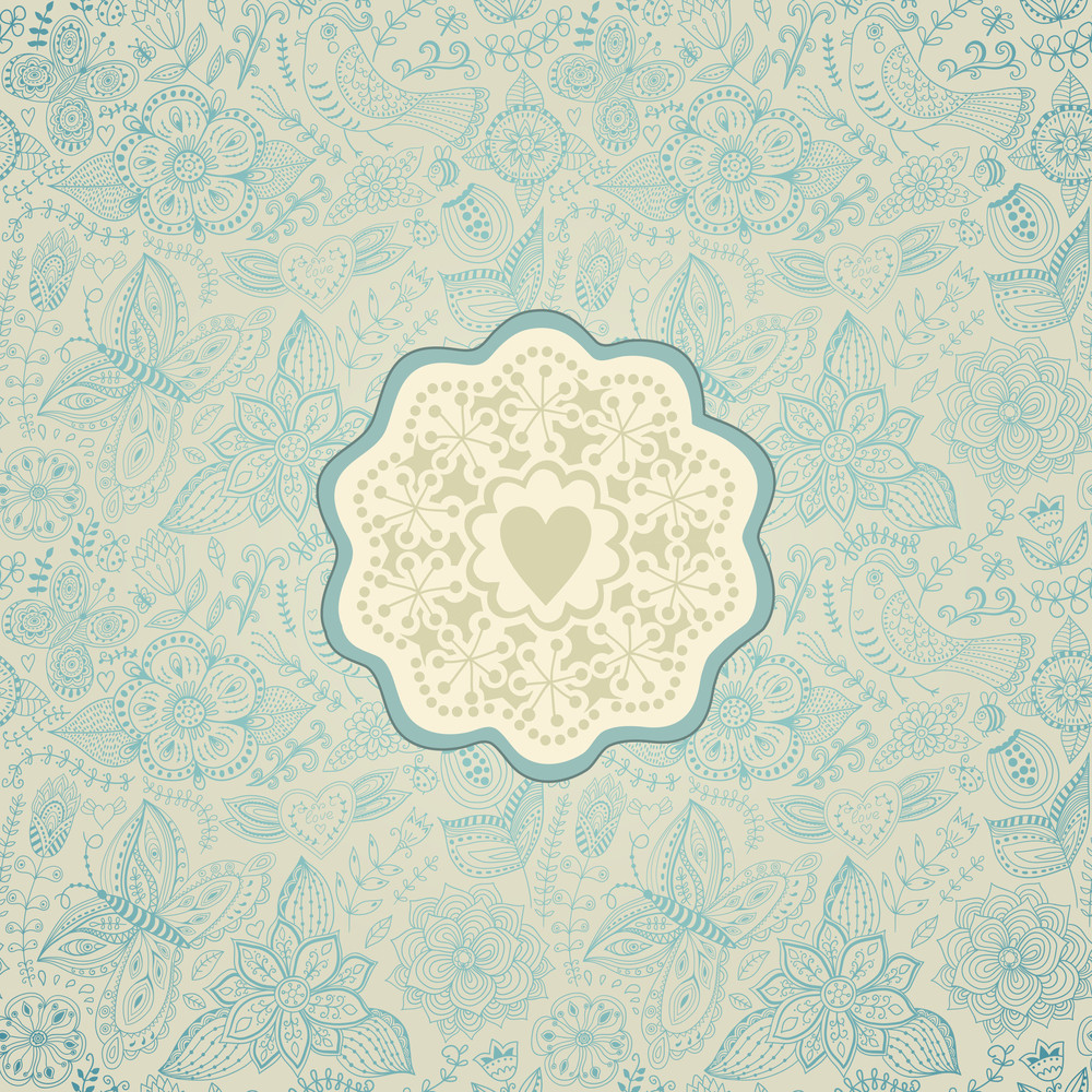 Gorgeous Seamless Floral Background. Floral Background In Red With Vintage Label Design.