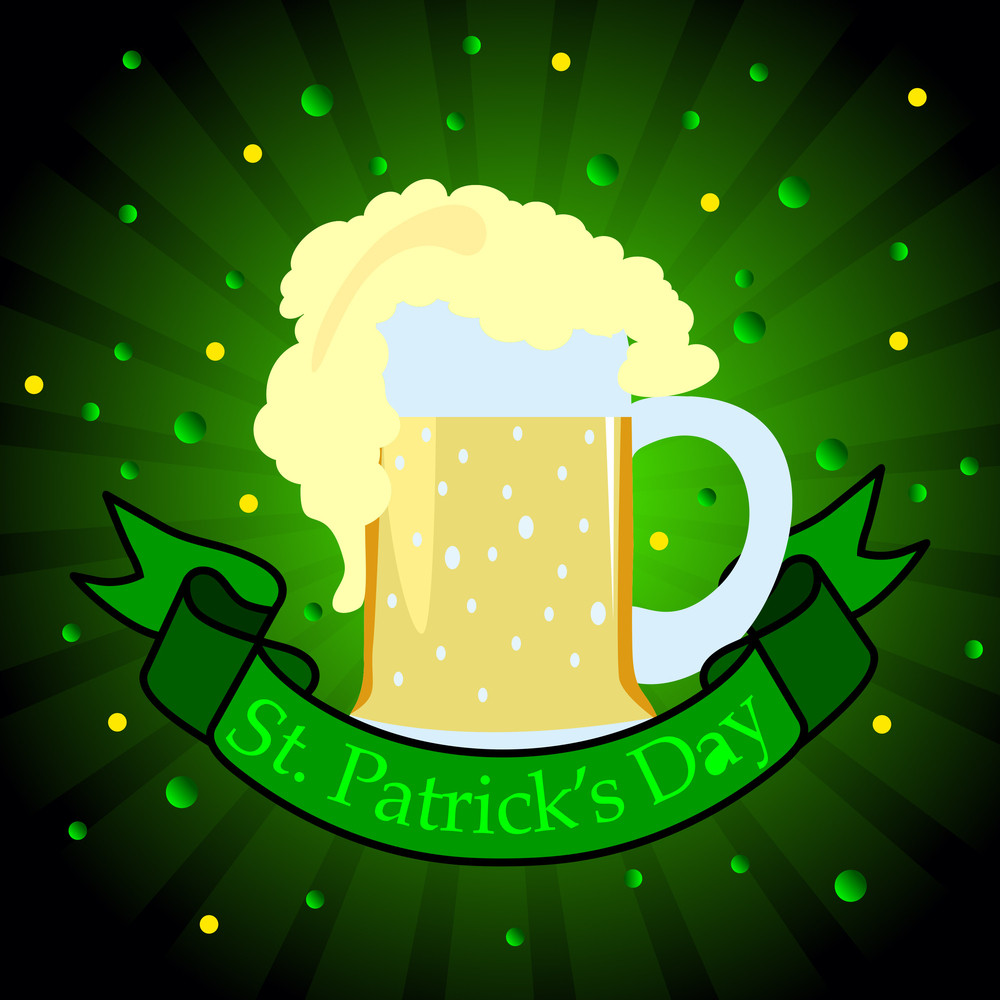 Gradient Background With Beer Mug For Patrick's Day. Vector.