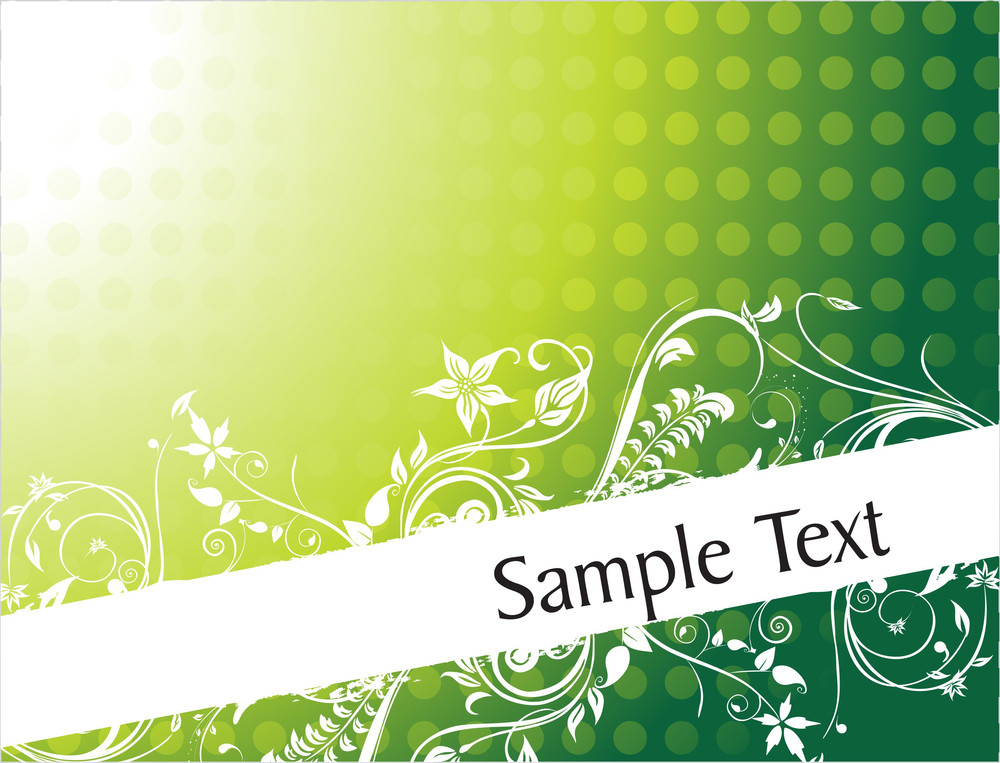 Gradient Green Filigree Floral Frame For Sample Text