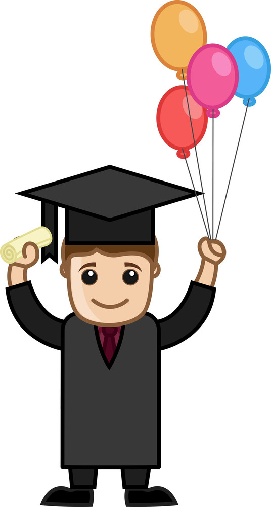 Graduate Man Holding Balloons - Cartoon Office Vector Illustration