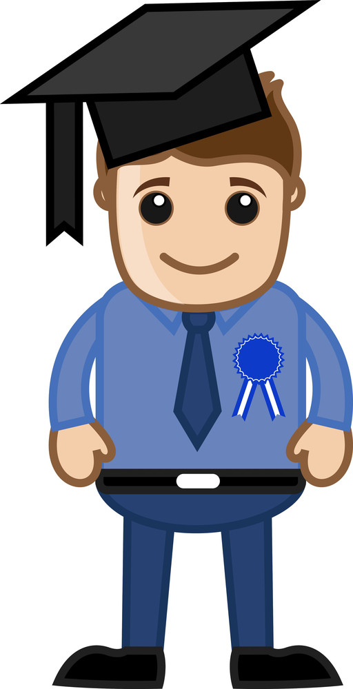 Graduate Student - Cartoon Office Vector Illustration