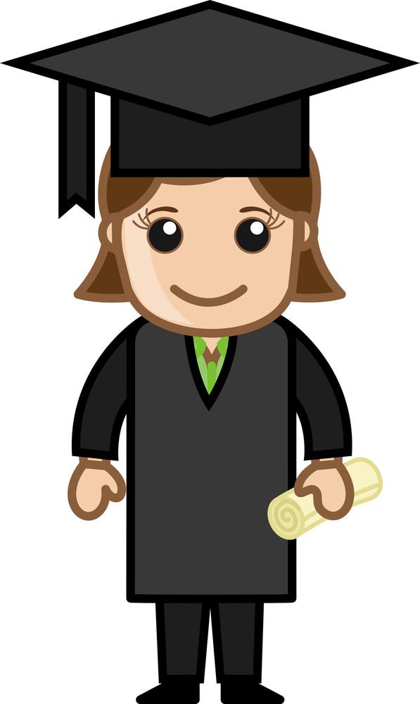 Graduate Woman - Cartoon Office Vector Illustration