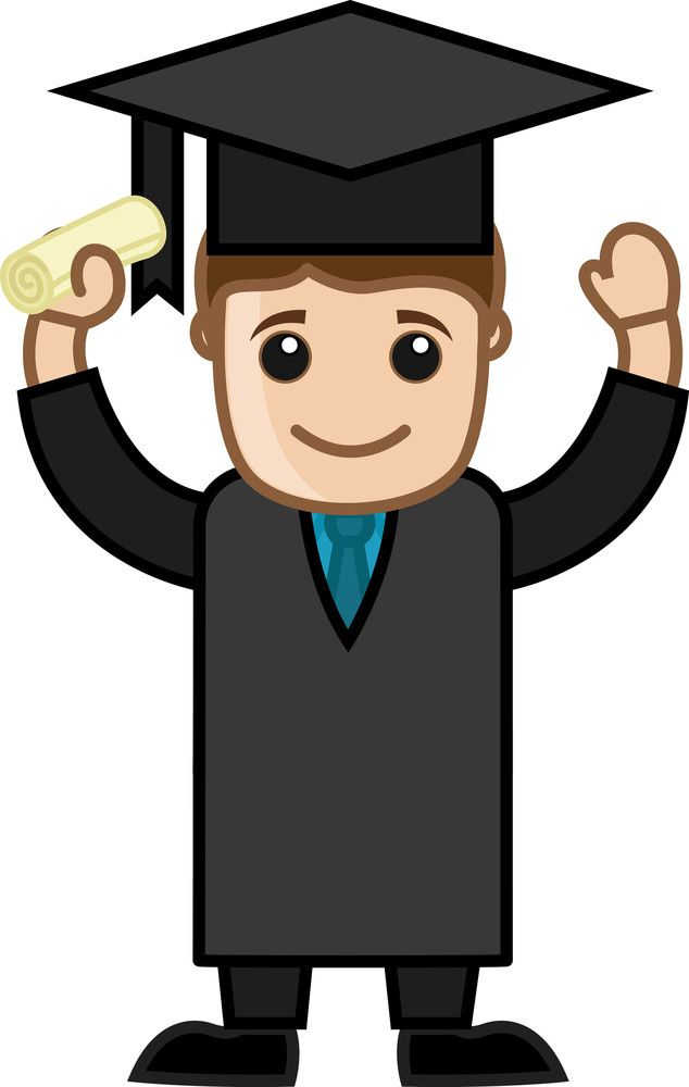 Graduation Success - Cartoon Office Vector Illustration