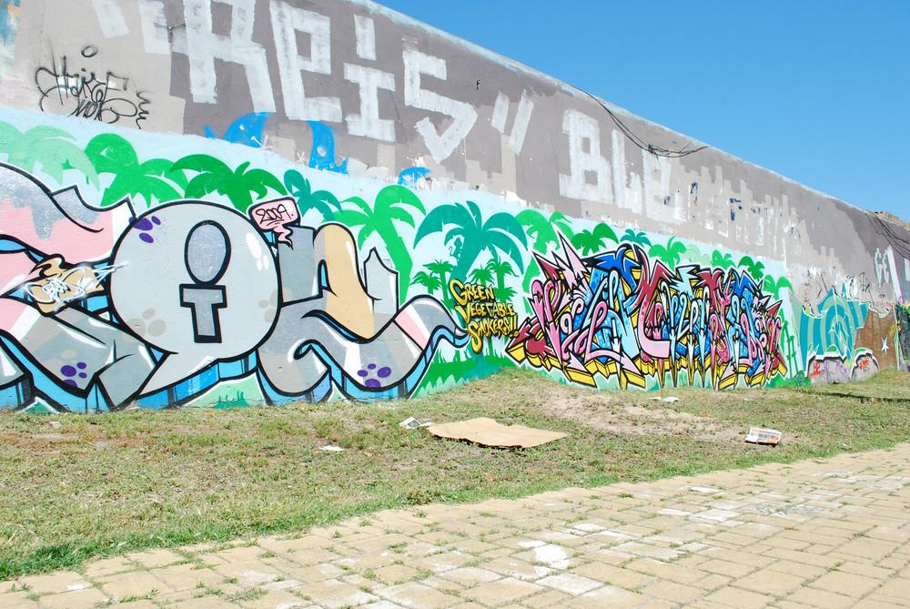 Graffiti Wall On A Urban Place
