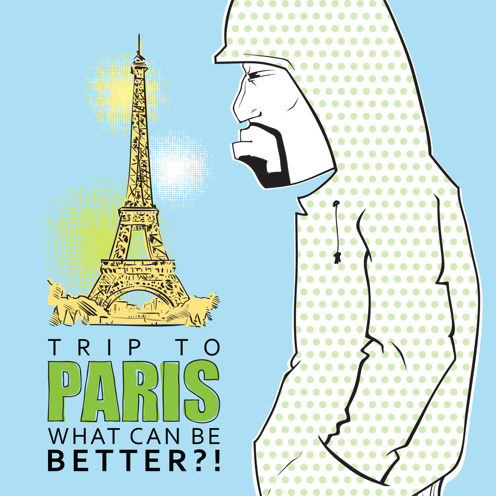 Grafiti Character On A Eiffel Tower Background. Vector Illustration