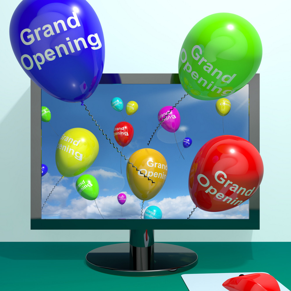 Grand Opening Balloons From Computer Showing New Online Store Launch