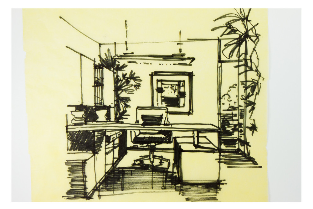 Graphic Sketch An Study Room