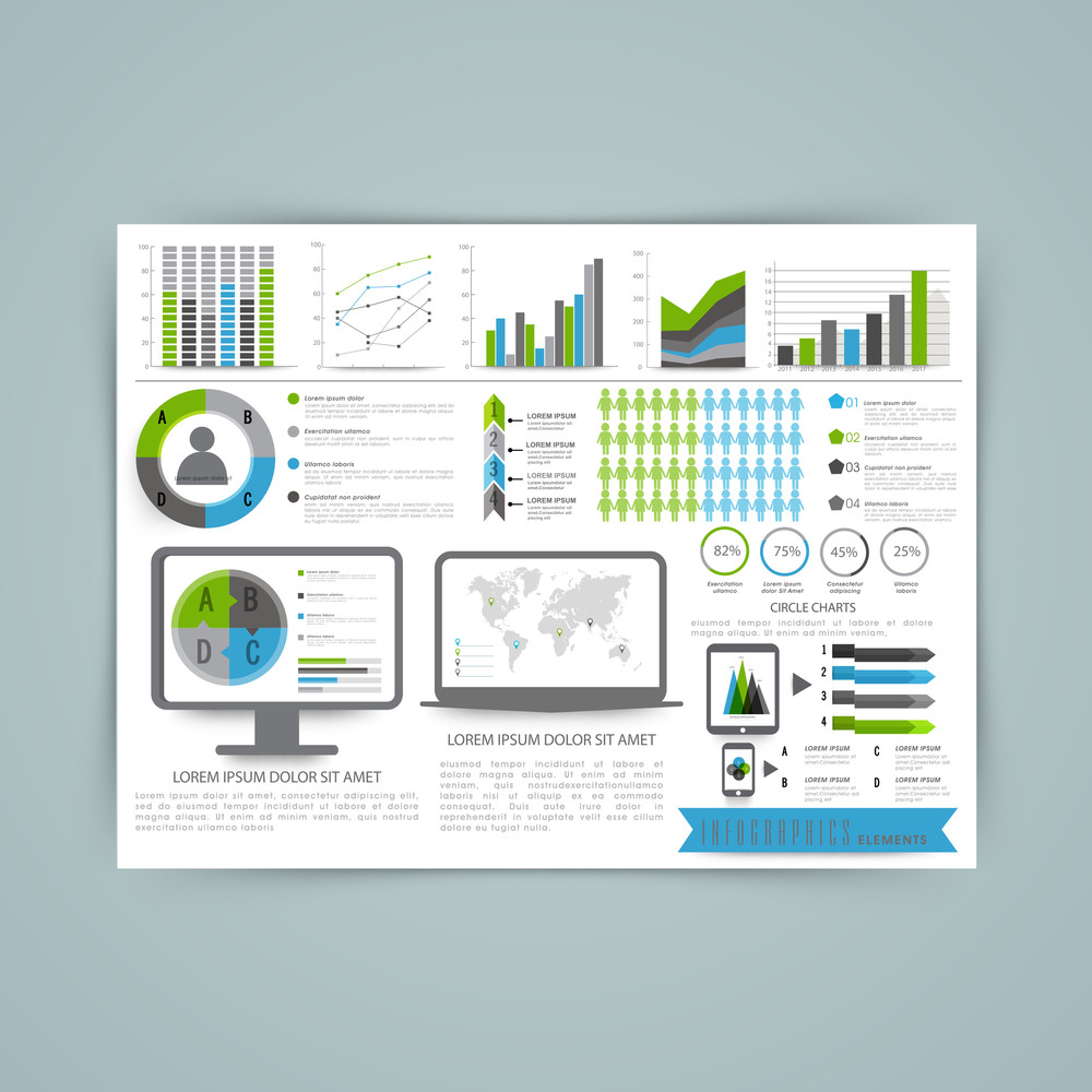 A big set of business infographics elements including bars graphs a big set of business infographics elements including bars graphs and desktop screen showing pie chart and world map gumiabroncs Gallery