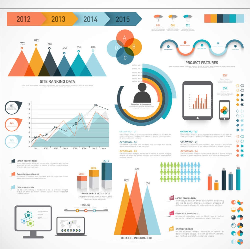 A big set of Business Infographics elements with different statistical graphs and charts to present your data effectively.