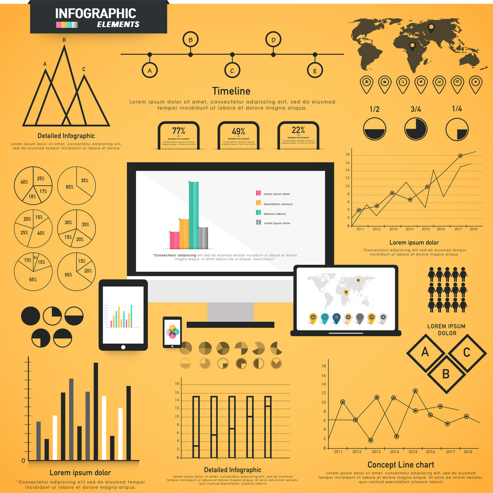 A big set of various statistical business infographic elements with modern digital devices presentation on yellow background.