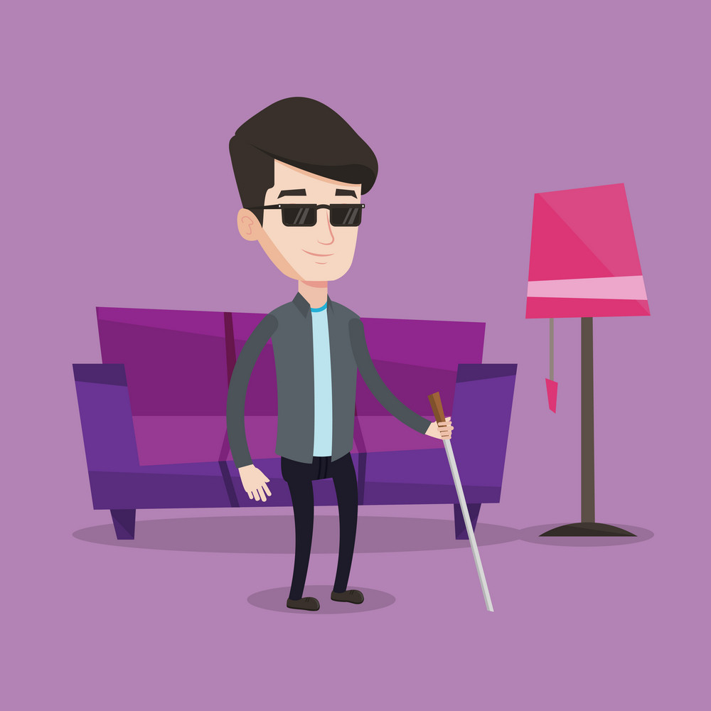 A blind man standing with walking stick at home. Young man in dark glasses with cane standing in the living room. Vector flat design illustration. Square layout.