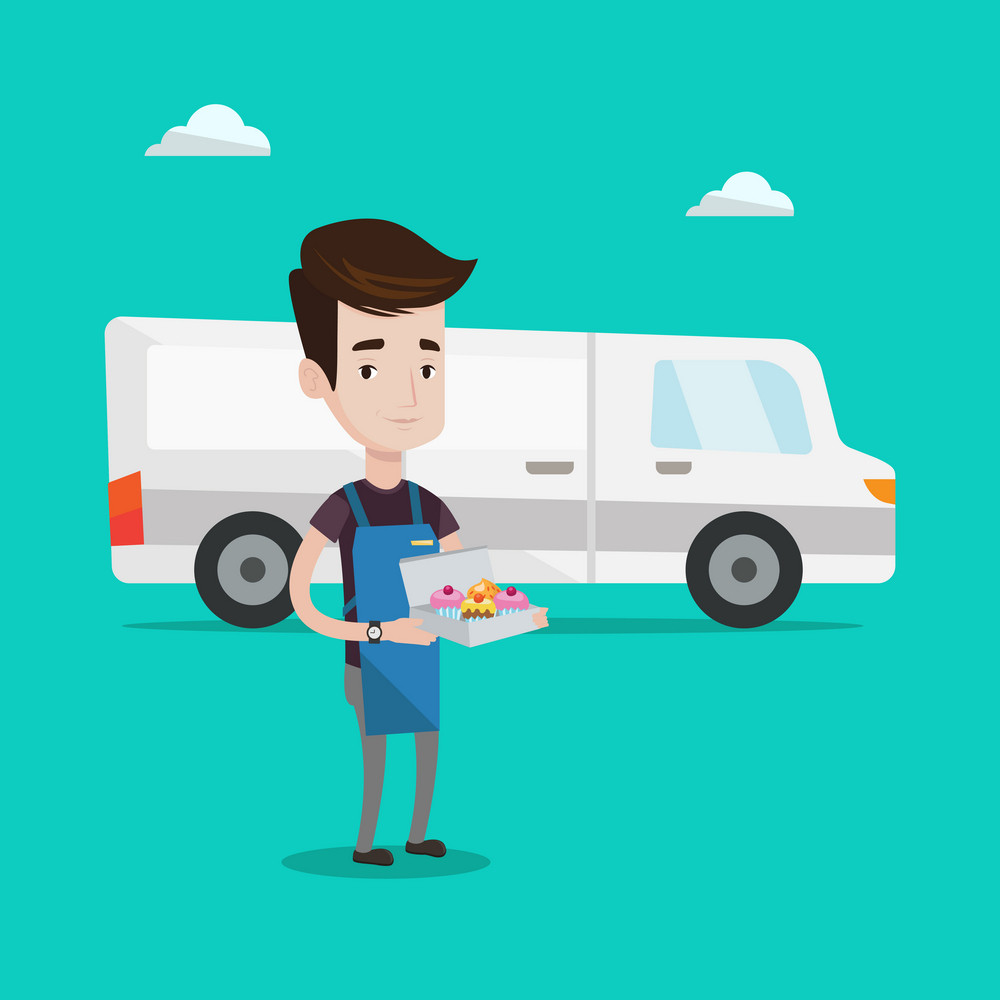 A friendly delivery man holding a box of cakes. A baker delivering cakes. Young man with cupcakes standing on the background of delivery truck. Vector flat design illustration. Square layout.