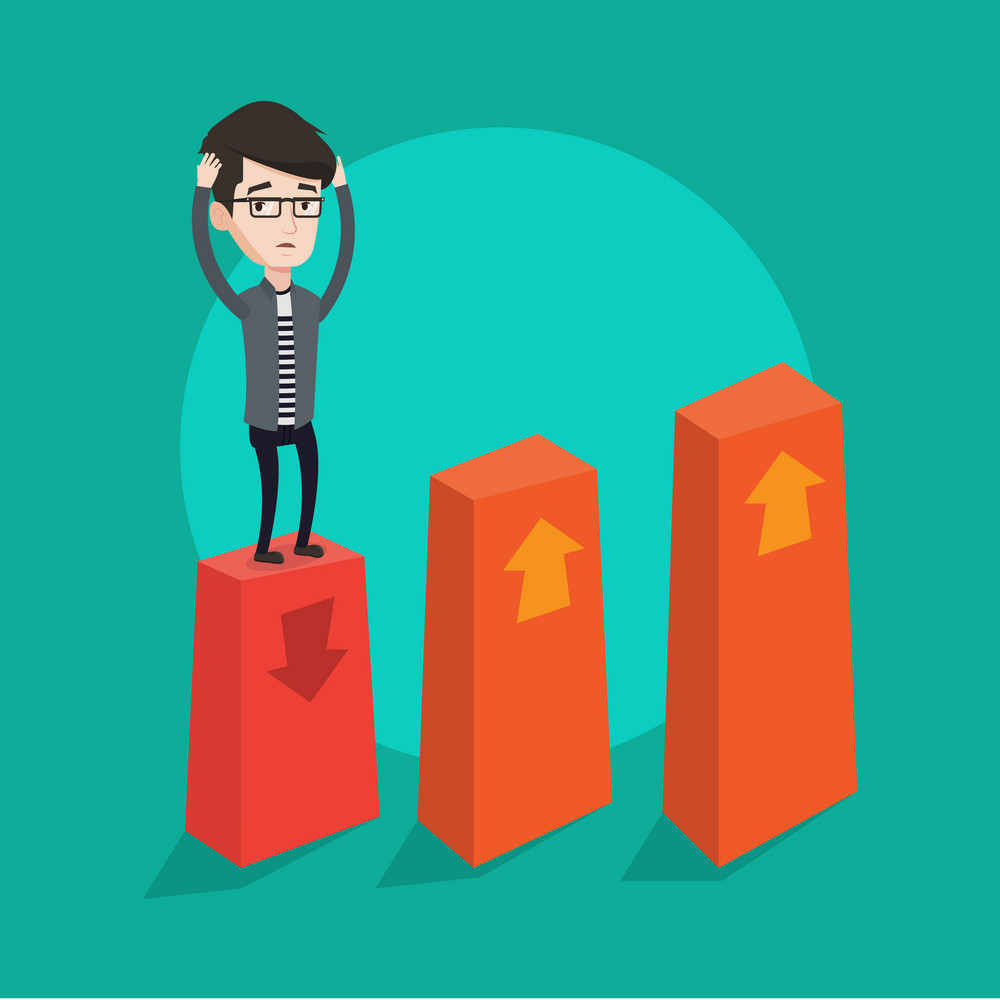 A frightened bankrupt clutching his head. Young bankrupt standing on chart going down. Concept of business bankruptcy. Vector flat design illustration. Square layout.